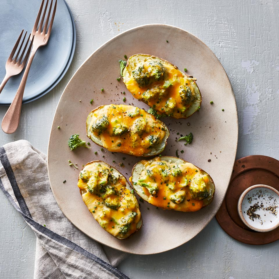 Air-Fryer Broccoli & Cheese Baked Potatoes