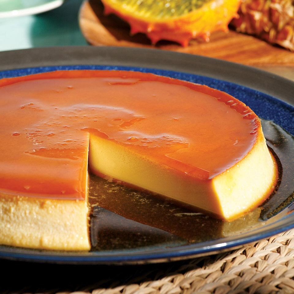Caramel Cream Cheese Custard Flan De Queso Recipe Eatingwell