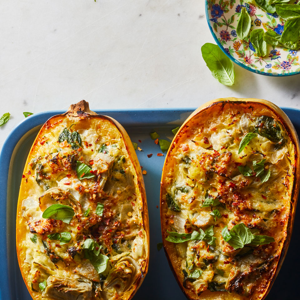 Day 6: Cheesy Spinach-&-Artichoke Stuffed Spaghetti Squash