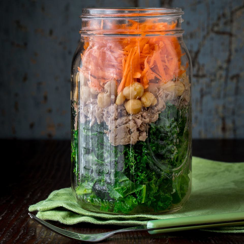 Mason Jar Power Salad with Chickpeas & Tuna