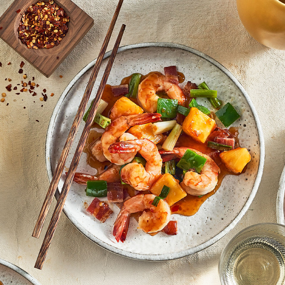 Easy Shrimp Stir-Fry with Green Pepper, Pineapple & Bacon