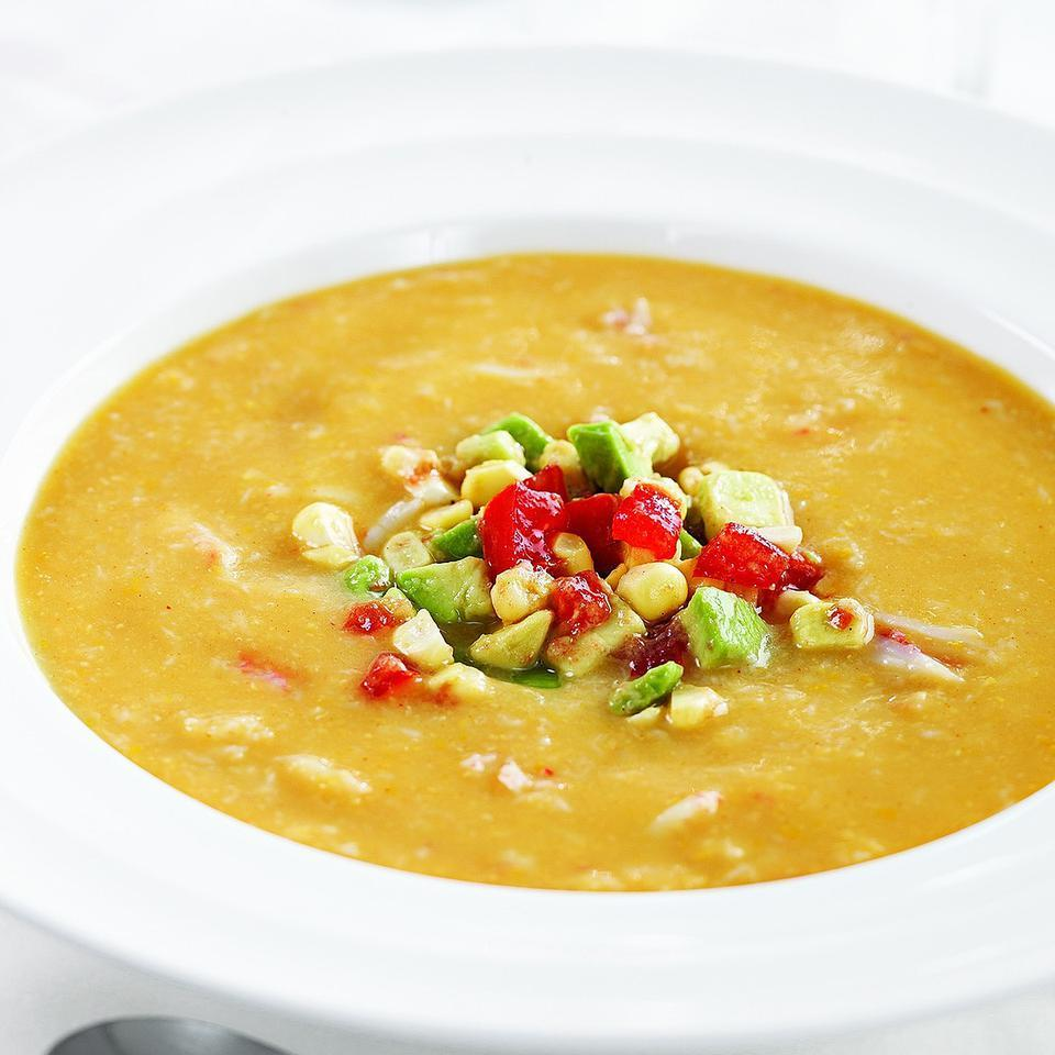 Crab Bisque with Avocado, Tomato & Corn Relish