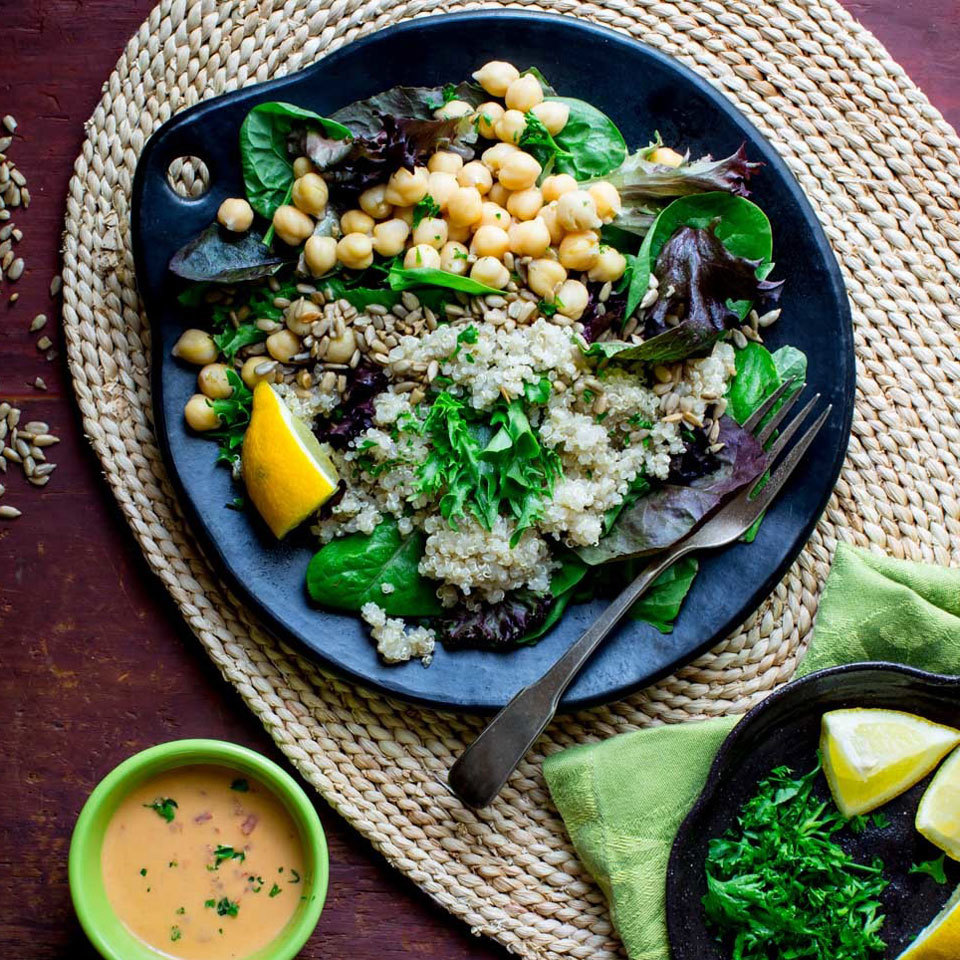Day 24: Quinoa Chickpea Salad with Roasted Red Pepper Hummus Dressing