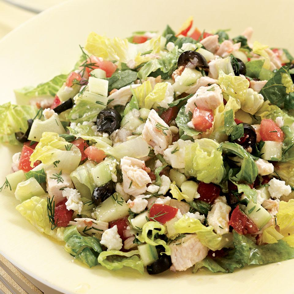 Chopped Greek Salad with Chicken for Two