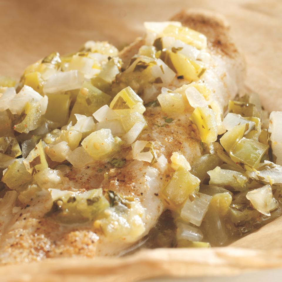 Catfish with Tomatillo Salsa in Packets
