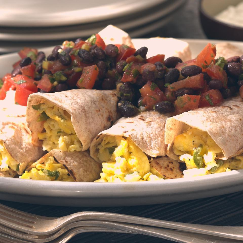 Scrambled Egg Burritos with Black Bean Salsa