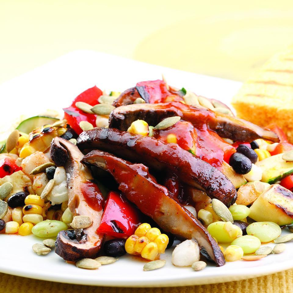 Black Bean & Hominy Succotash with Barbecued Portobello Mushrooms