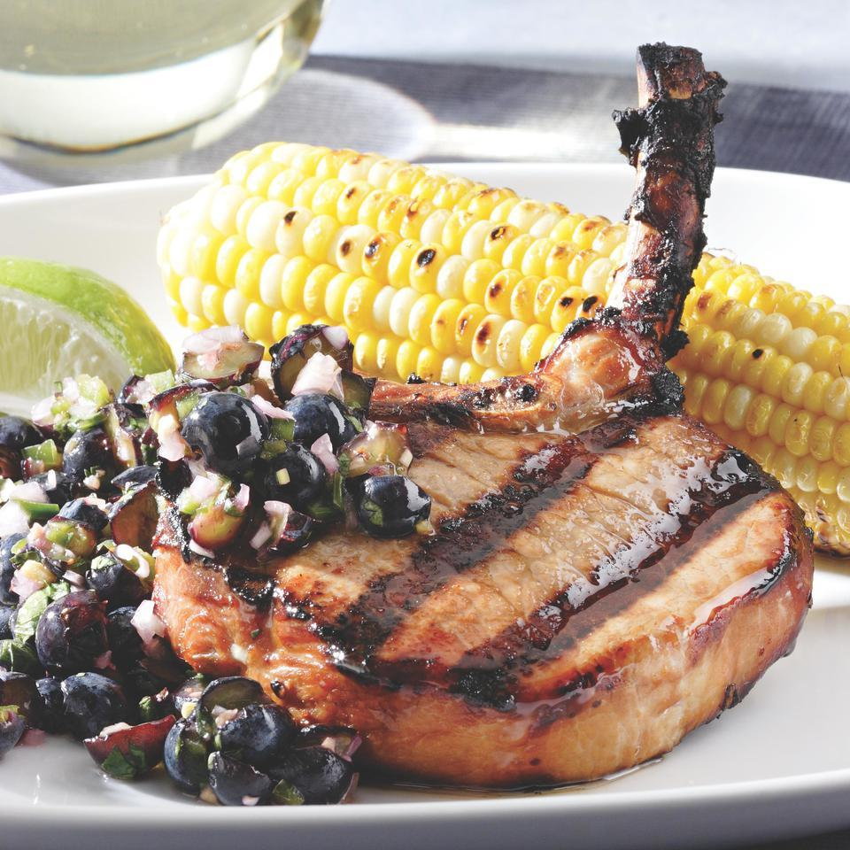 Teriyaki Pork Chops with Blueberry-Ginger Relish
