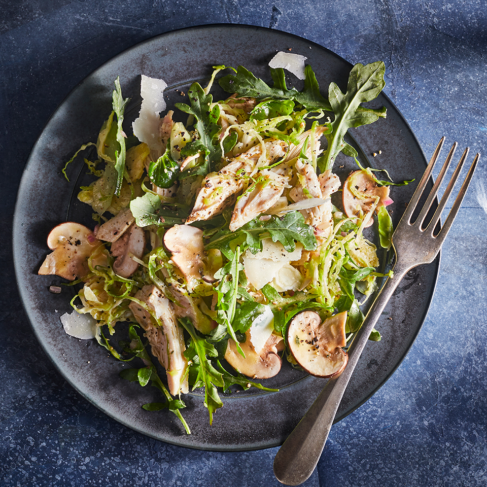 Chicken, Brussels Sprouts & Mushroom Salad