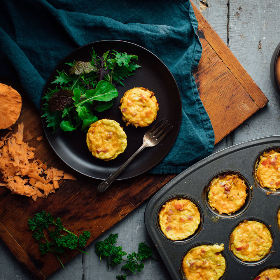 Mini Quiches with Sweet Potato Crust