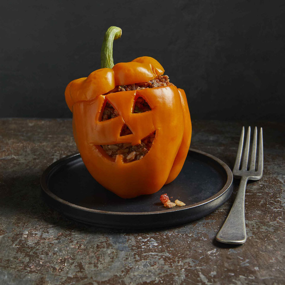 Jack-o'-Lantern Stuffed Peppers