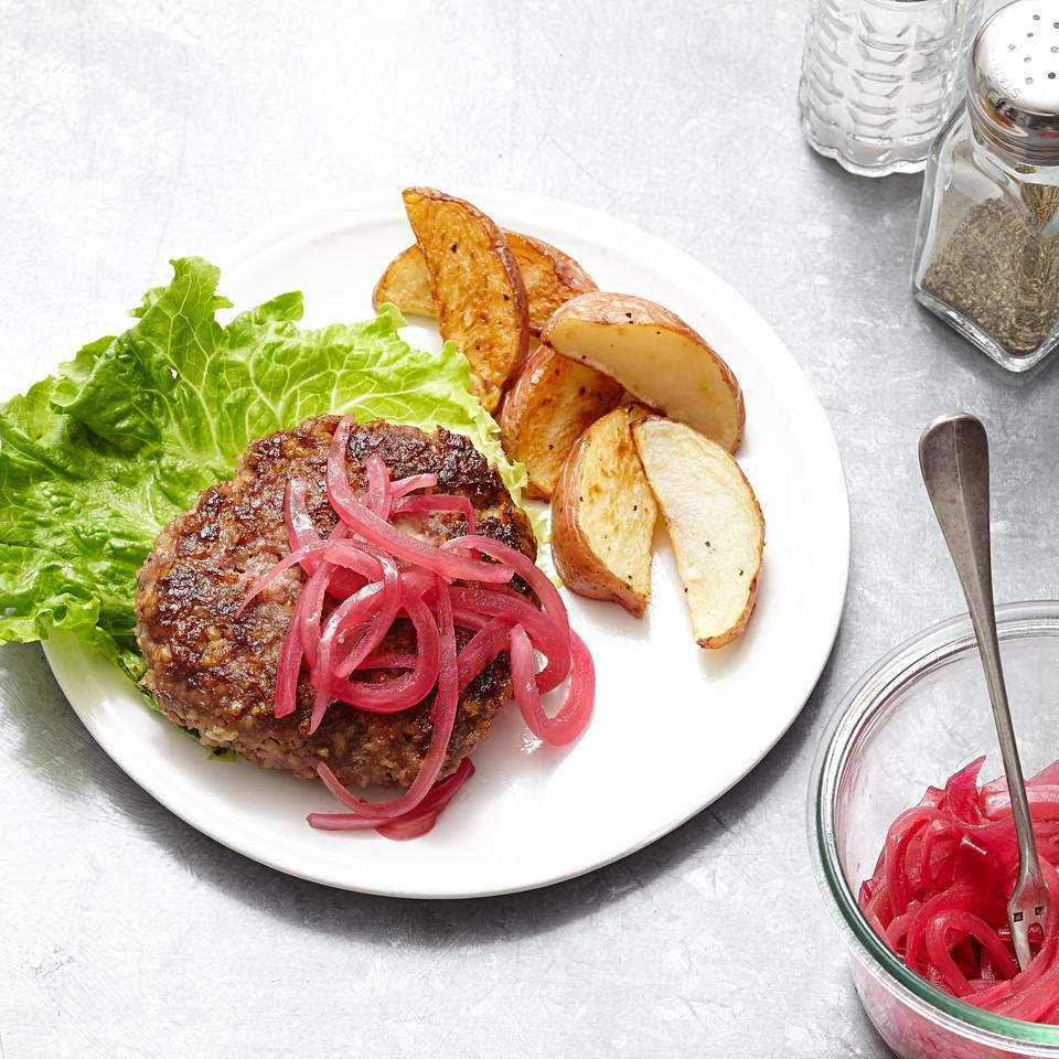 Beef & Bulgur Burgers with Blue Cheese for Two