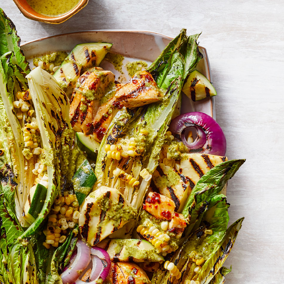 Chipotle Chicken, Halloumi & Grilled Romaine Salad