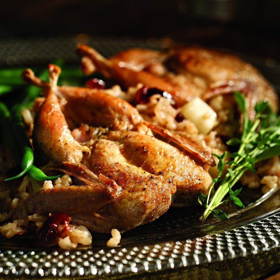 Quail with Ginger-Cranberry Pilaf