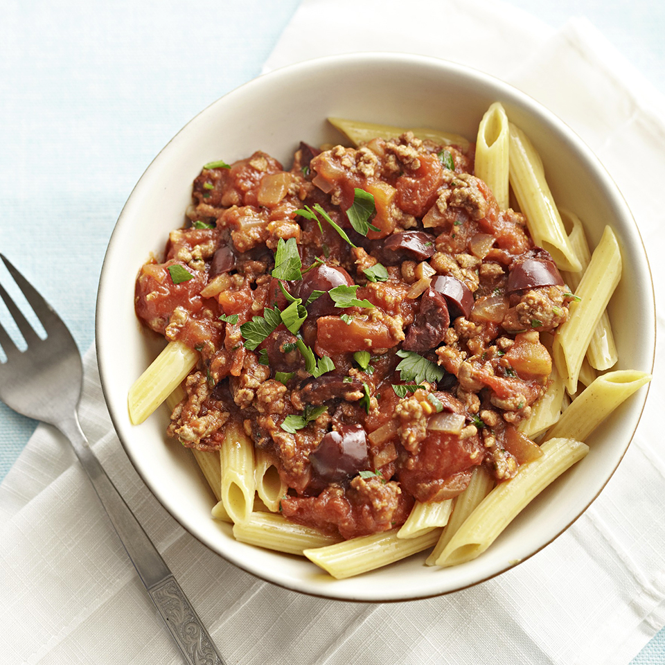 Pasta Puttanesca with Beef