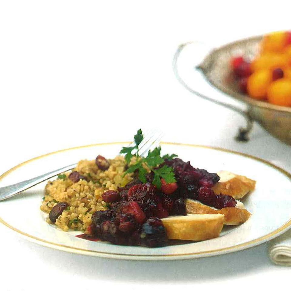Bulgur Stuffing with Dried Cranberries & Hazelnuts
