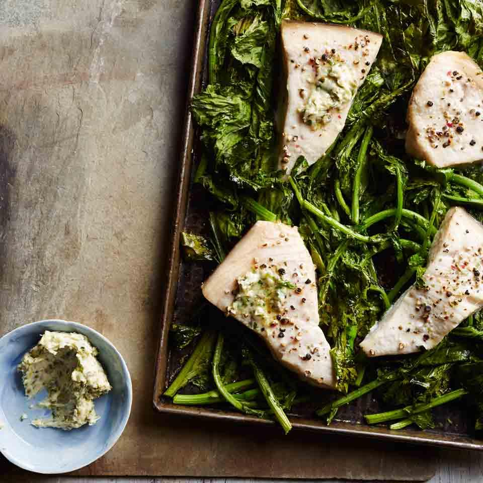 Roasted Swordfish & Broccoli Rabe with Piccata Butter