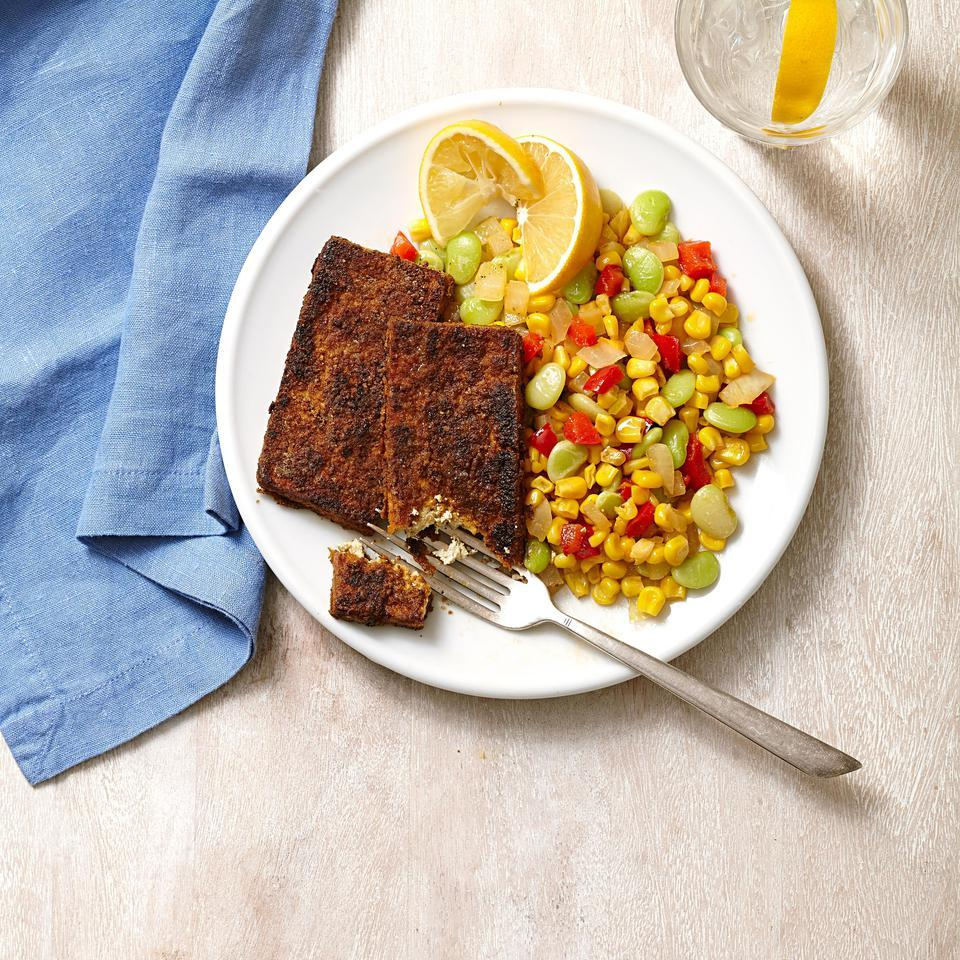 Day 29: Blackened Tofu with Succotash