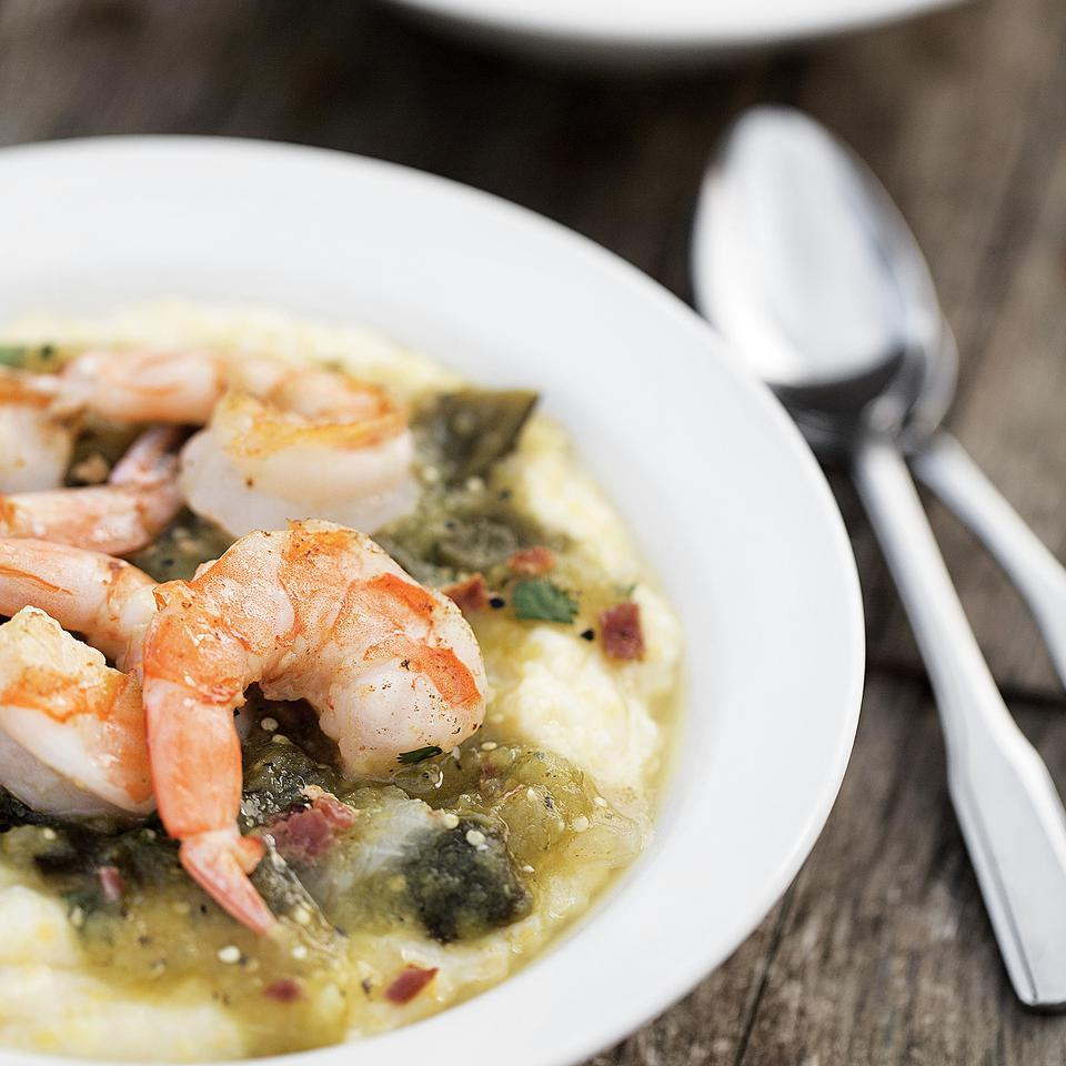 Shrimp & Grits with Tomatillo Sauce