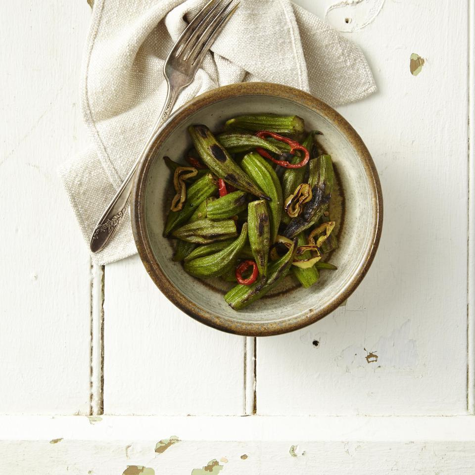 Grilled Okra & Hot Peppers