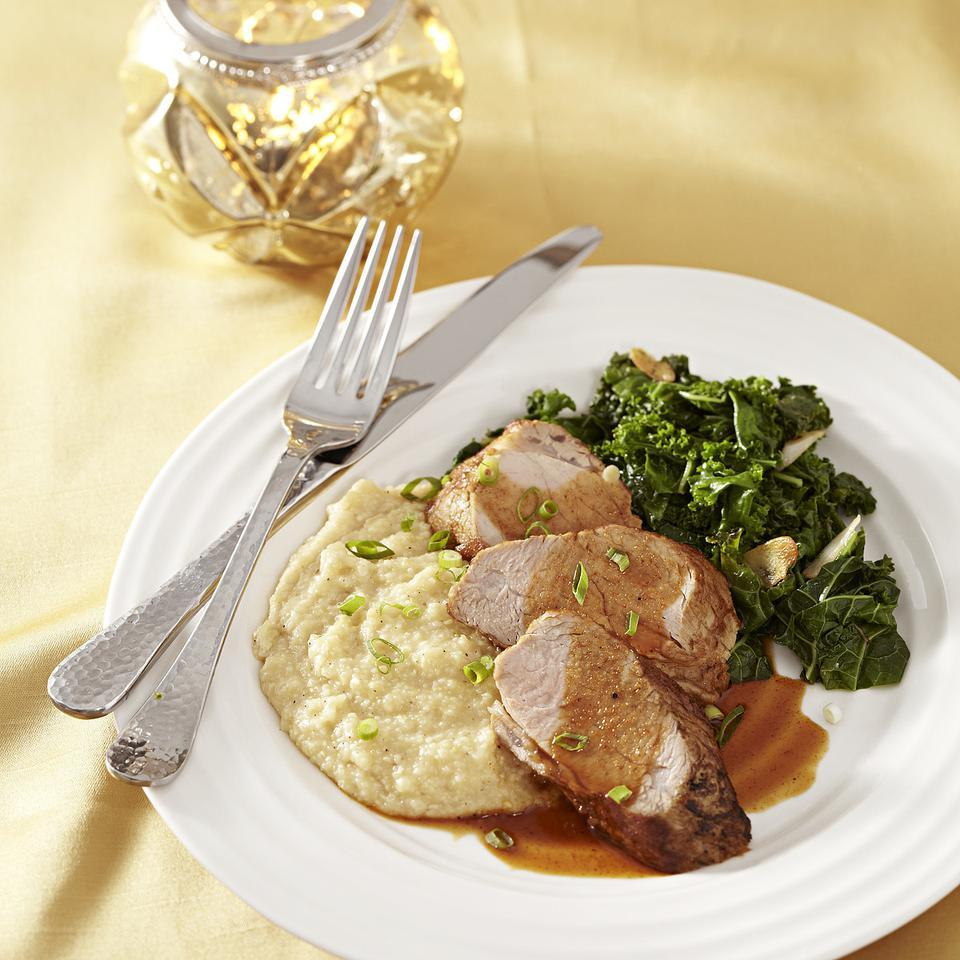 Ancho-Honey Pork Tenderloin with Cheese Grits
