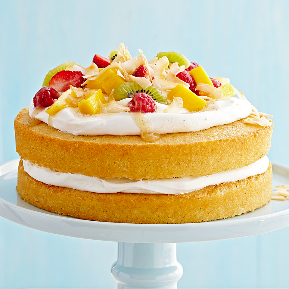 Coconut Cream & Fruit-Topped Vanilla Cake