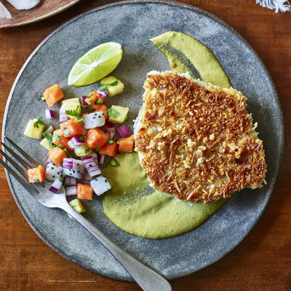 Coconut-Crusted Ahi with Tropical Salsa & Peanut Sauce