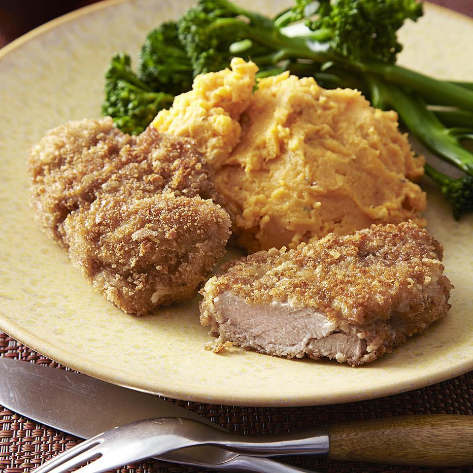 Pork Milanese with Mashed Sweet Potato