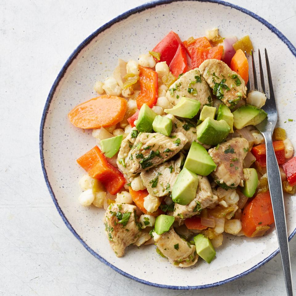Chicken with Bell Pepper & Hominy Stir-Fry
