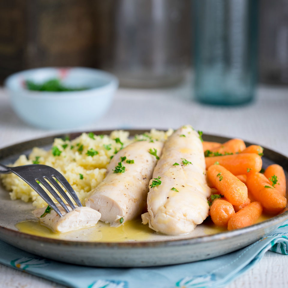 Honey-Mustard Chicken Tenders with Couscous & Carrots