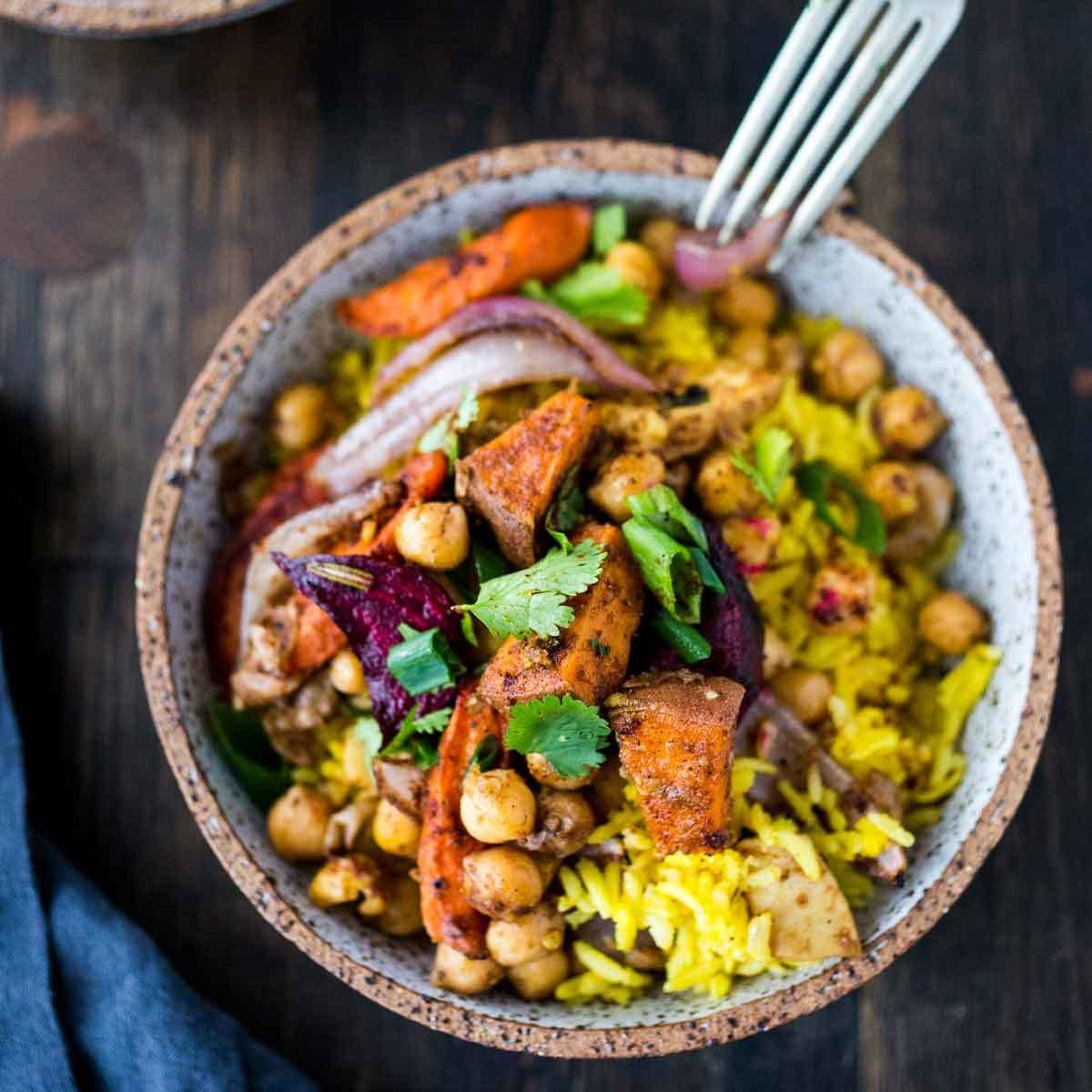 Turmeric Rice Bowl with Garam Masala Root Vegetables & Chickpeas