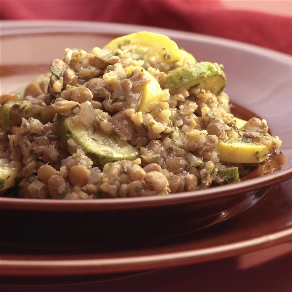 Lentil & Bulgur Pilaf with Green & Yellow Squash