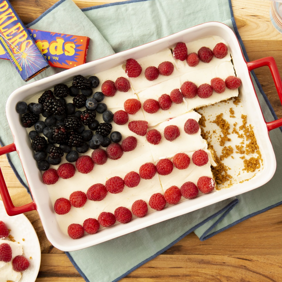 No-Bake Berry Flag Cake