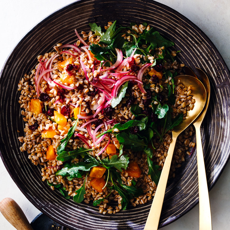Farro Salad with Cranberries & Persimmons