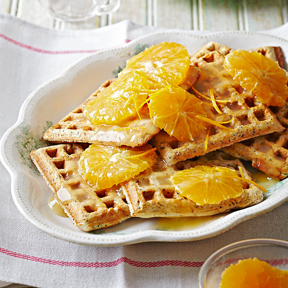 Poppy Seed Oat Waffles with Citrus Syrup