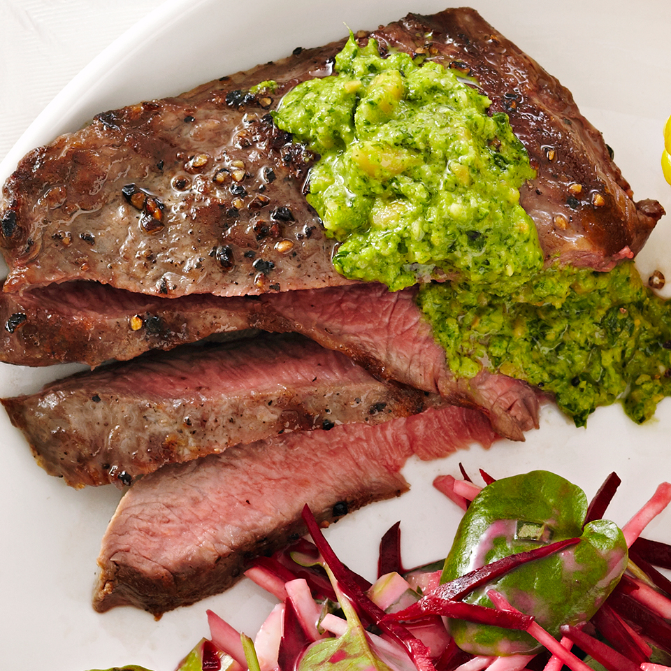Grilled Flat Iron Steak with Watercress Pesto