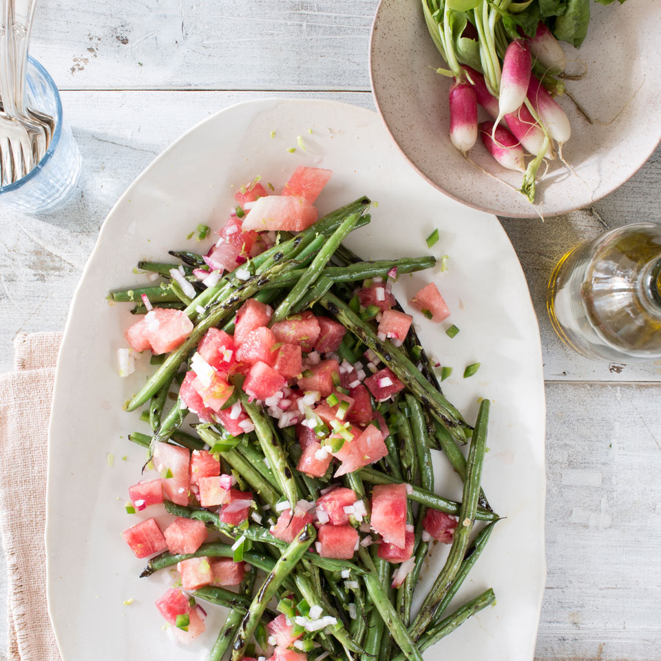 Grilled Green Beans with Watermelon-Radish Salsa