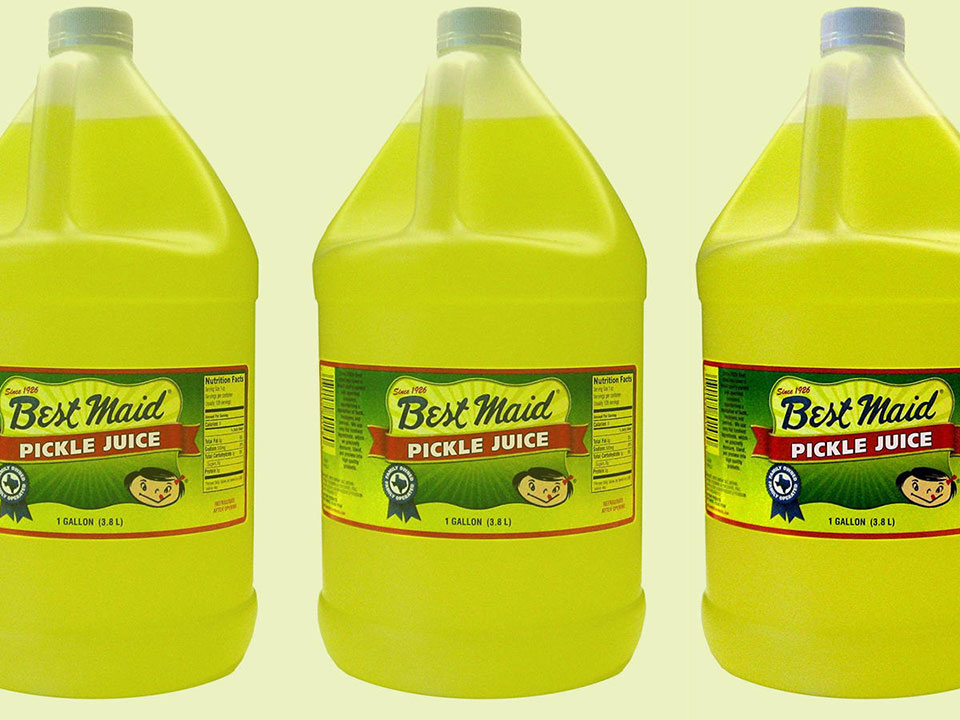 Best Maid Pickle Juice in gallon sized containers