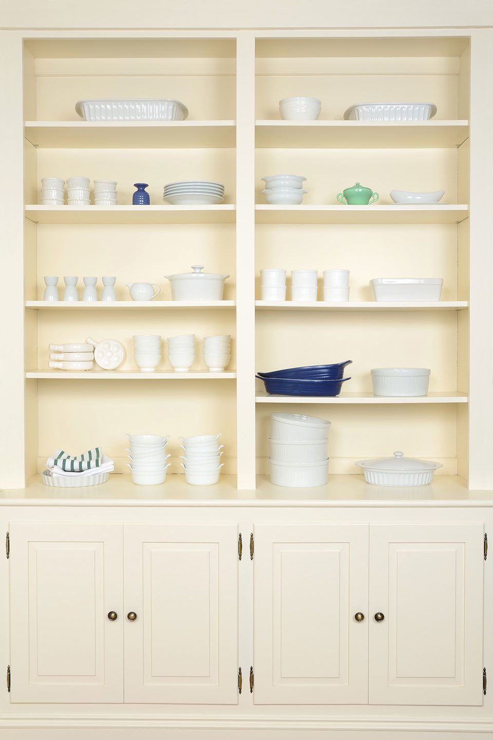 shelving with essential dishes organized neatly
