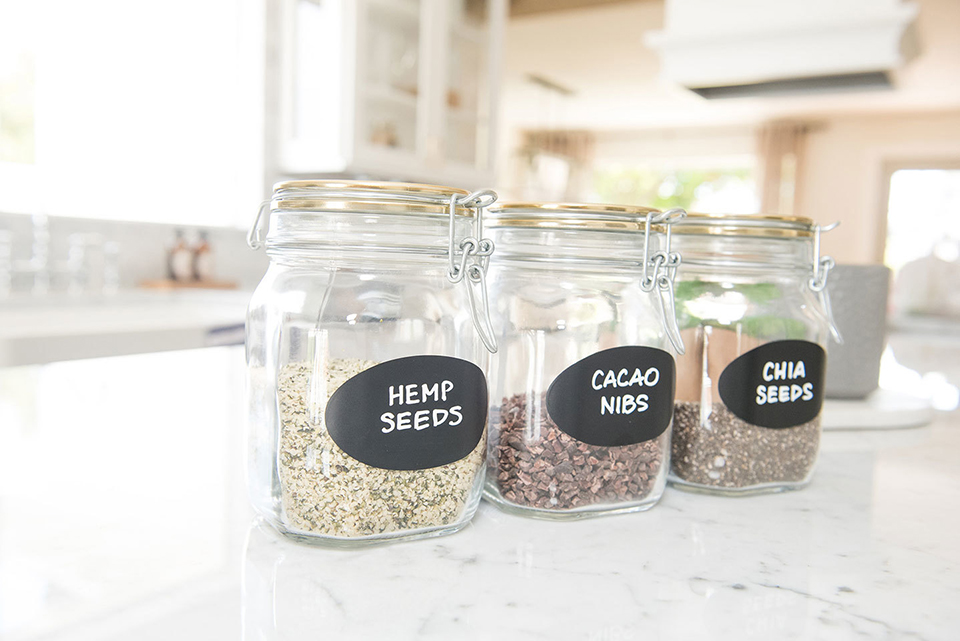 glass air-tight jars with black labels