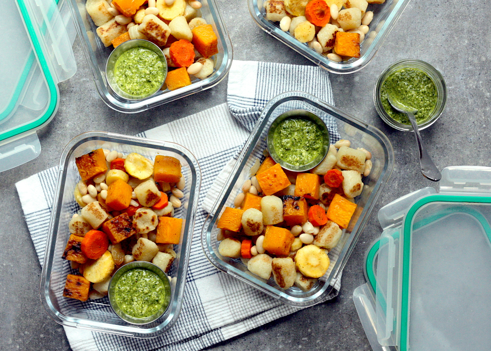 rosted root vegetables with pesto and gnocchi