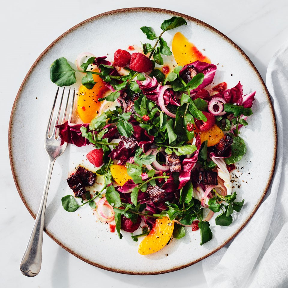 peach, raspberry & watercress salad from above (very deliciously colorful)