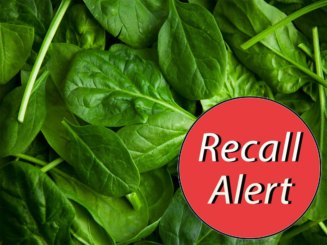 baby spinach with recall alert sticker
