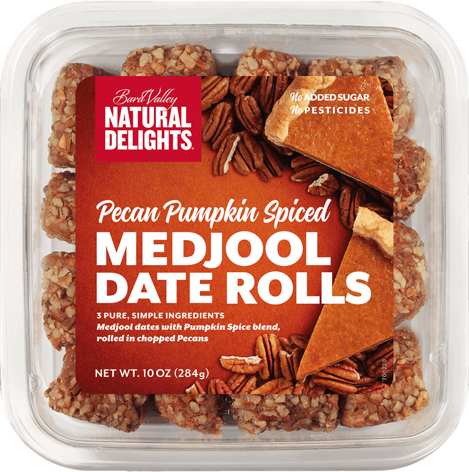 Bard Valley brand Pecan Pumpkin Spiced Date Rolls in package