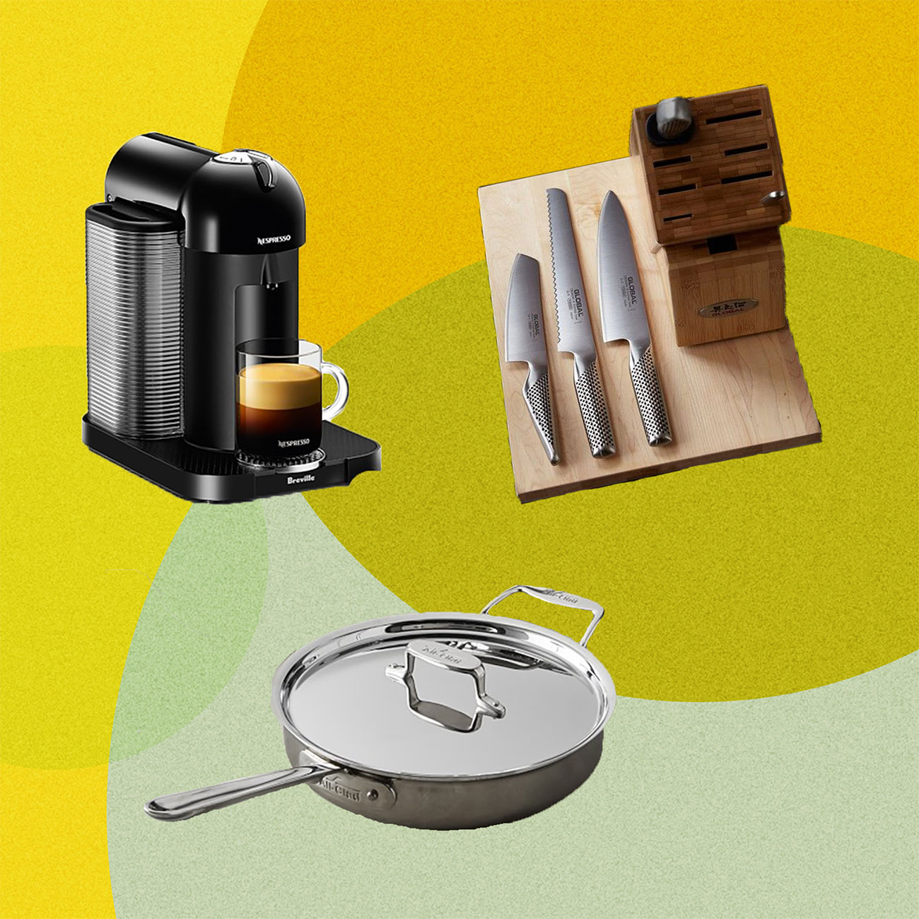 Kitchen items - frying pan, knife, espresso machine collaged against a geometric colorful background
