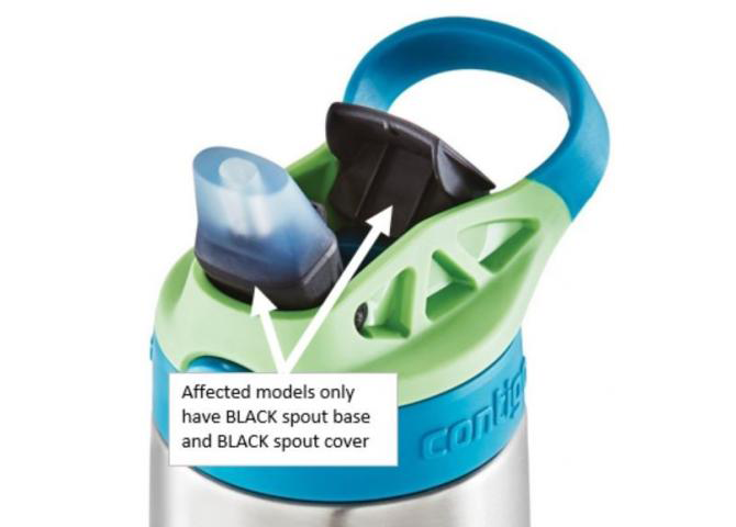 Contigo Water Bottle with arrows pointing to spouts and text that says 'Affected models only have BLACK spout base and BLACK spout cover.'