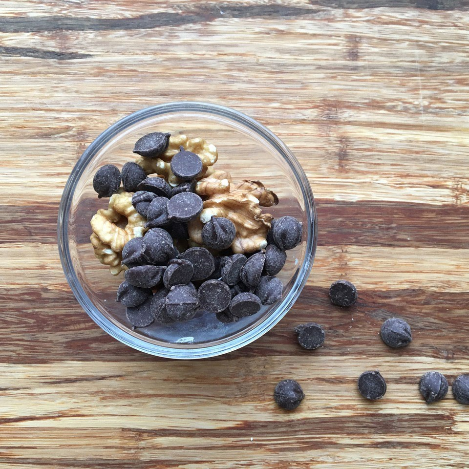 small bowl with walnuts and dark chocolate chips