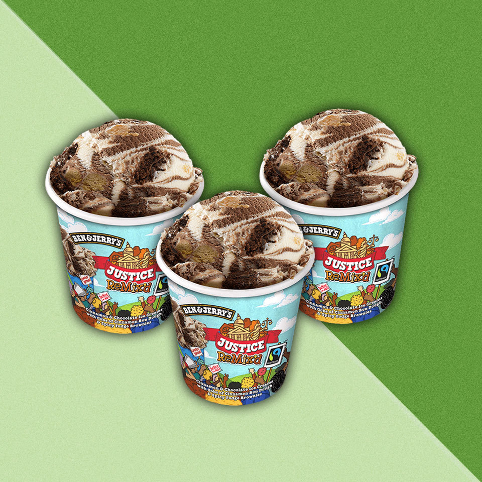 3 pint size containers of Ben & Jerry's Ice Cream