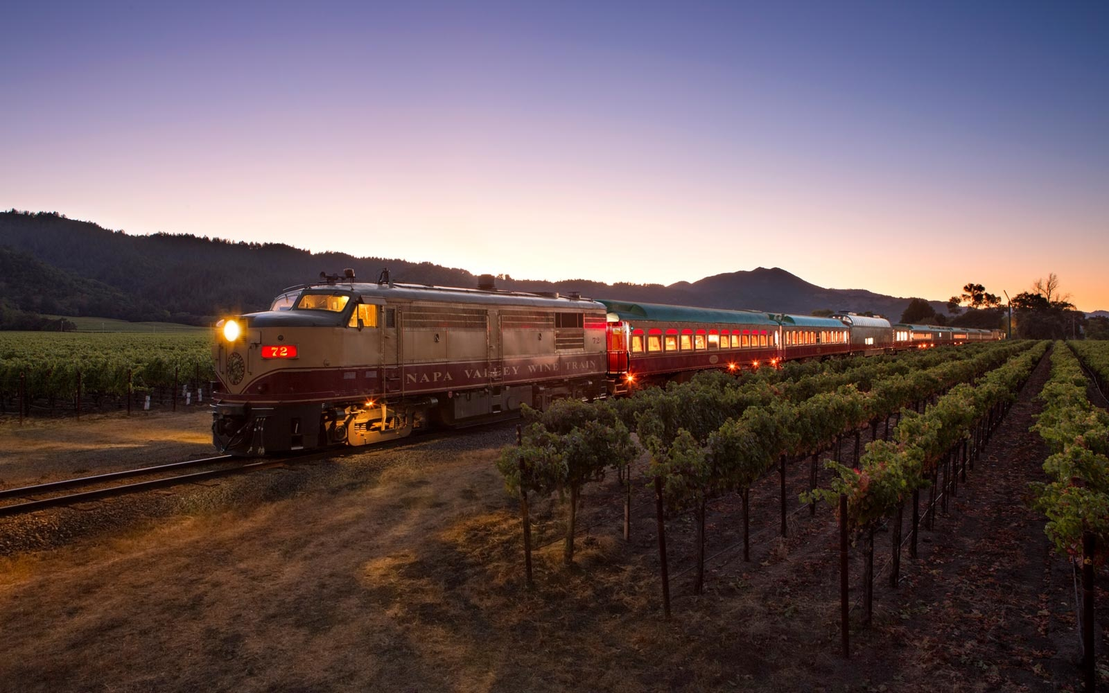 Napa Valley Wine Train on track in vineyards