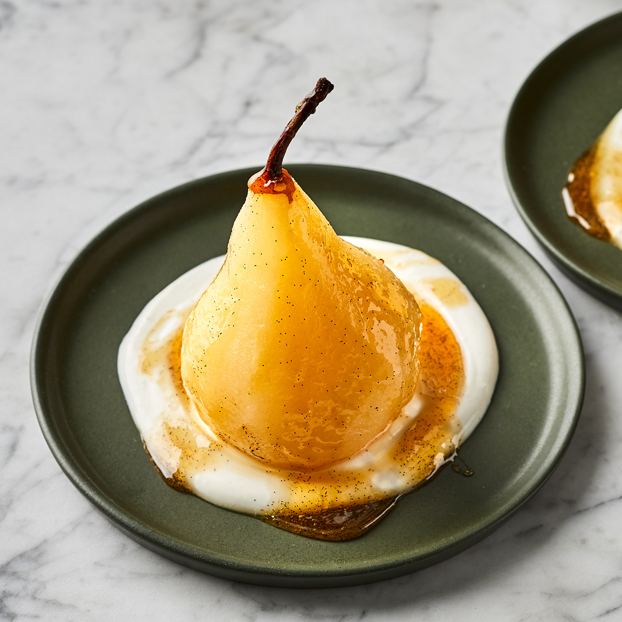 Vanilla, Cinnamon & White Wine Poached Pears with Yogurt